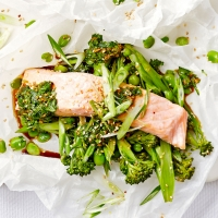Salmon parcels with Asian salsa verde