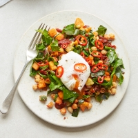 Sweet potato and spring green hash