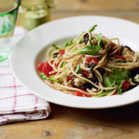 Aubergine and mint spaghetti