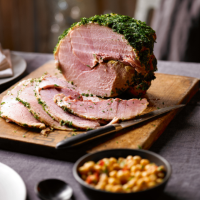 Brian Turner's smoked gammon with thyme, garlic & chilli chickpea salsa