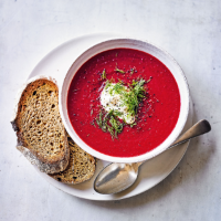 Beetroot, red cabbage & chestnut soup
