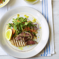 Cumin and coriander lamb with carrot salad