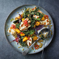 Cavolo nero with roasted squash and halloumi