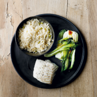 Cod with Chinese pak choi