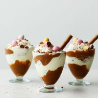 Chocolate & salted caramel sundaes