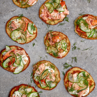 Giant hot smoked salmon blinis with horseradish cream