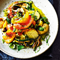 Grilled peppers, courgettes & aubergines with new potatoes