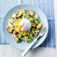 Haddock and potato bake with poached eggs