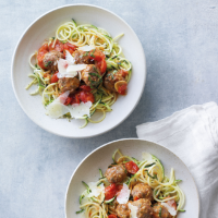 Lamb meatballs with spaghetti, courgette & tomato