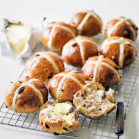 Martha Collison's cranberry, pecan & honey hot cross buns