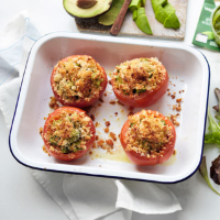 Pesto avocado stuffed tomatoes