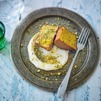 Pistachio sponge with orange blossom yogurt