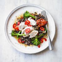 Poached chicken with Puy lentils