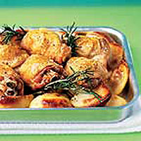 Roast chicken thighs and potatoes with lemon and rosemary