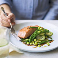 Salmon with bean and cucumber salad