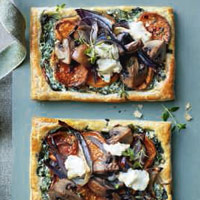 Sweet potato, mushroom and spinach galettes