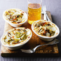 Seafood pies with leeks and cider