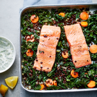 Salmon, cabbage and lentil traybake