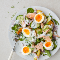 Smoked trout salad with boiled eggs