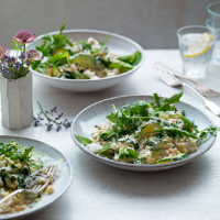 Spelt, courgette and chard risotto