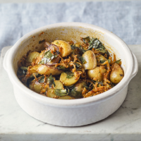 Spiced Jersey Royals with curry leaves