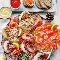 Shellfish platter with three dipping sauces