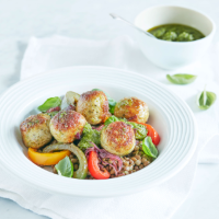 Turkey meatballs with peperonata