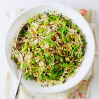 Wild rice salad with orange, pistachios and wild rocket