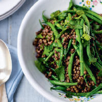 Warm lentil and green bean salad