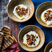 Whipped lemon ricotta dip with black olive, sun-dried tomato and pine nut salsa