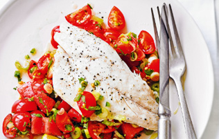 sea bass with watermelon pico de gallo