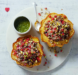 Stuffed squash with jewelled rice and salsa verde