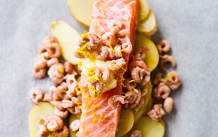 Martha's salmon en papillote with lemon butter and brown shrimp