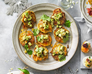 Sweetcorn polenta fritters with sweet chilli and avocado