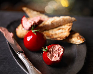 Heston's cherry tomato meat fruit canapés