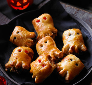 Spooky sausage rolls
