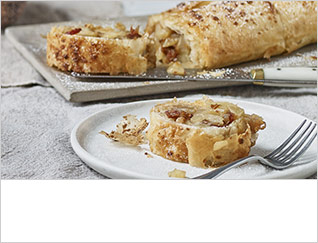 Pear, date and ginger strudel
