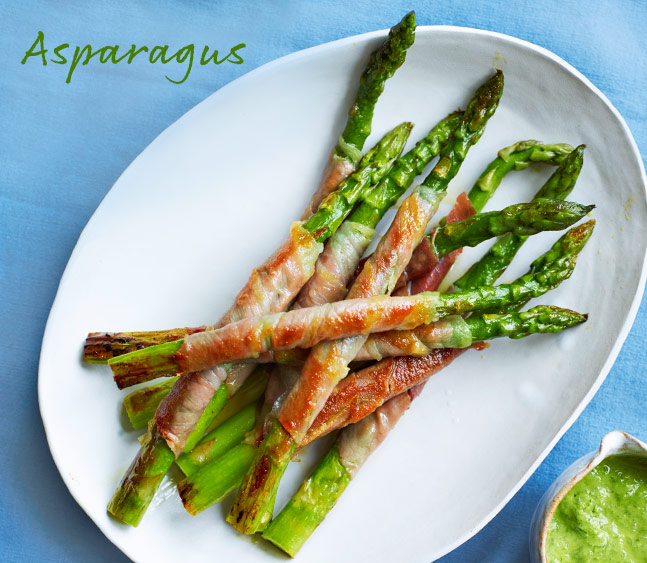 Prosciutto-wrapped asparagus with chive vinaigrette