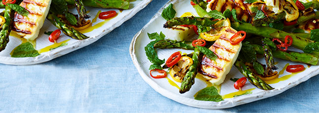 Griddled asparagus with halloumi and caramelised lemon