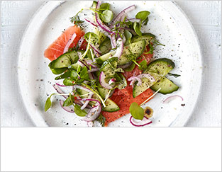 Quick pickled cucumber, dill & smoked salmon salad