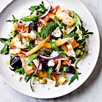 Beetroot fattoush with goat's cheese
