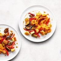 essential Waitrose halloumi, pepper & aubergines with sweet potato mash