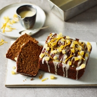 Gingerbread loaf cake with sticky orange ginger glaze
