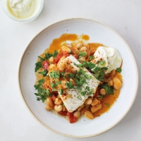 Hake & butter beans with lemon mayo