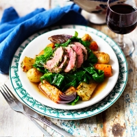 LOVE life herby lamb with roasted roots and wilted greens