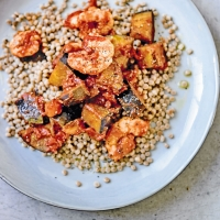 Prawn & aubergine tagine with couscous