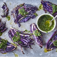 Roast red cabbage wedges with chimichurri dressing