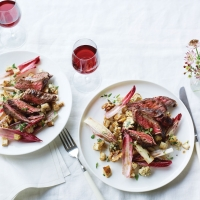 Steak, roast celeriac and chicory salad with roquefort