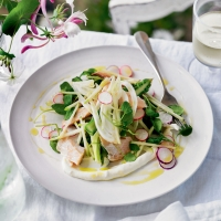 Summer salad with smoked trout