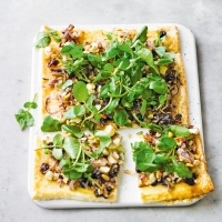 Watercress, pine nut, red onion & feta tart